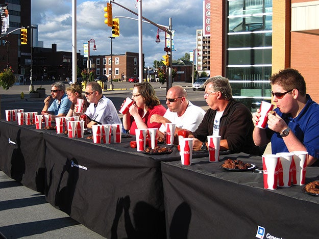 Meatloaf eating competition contestants